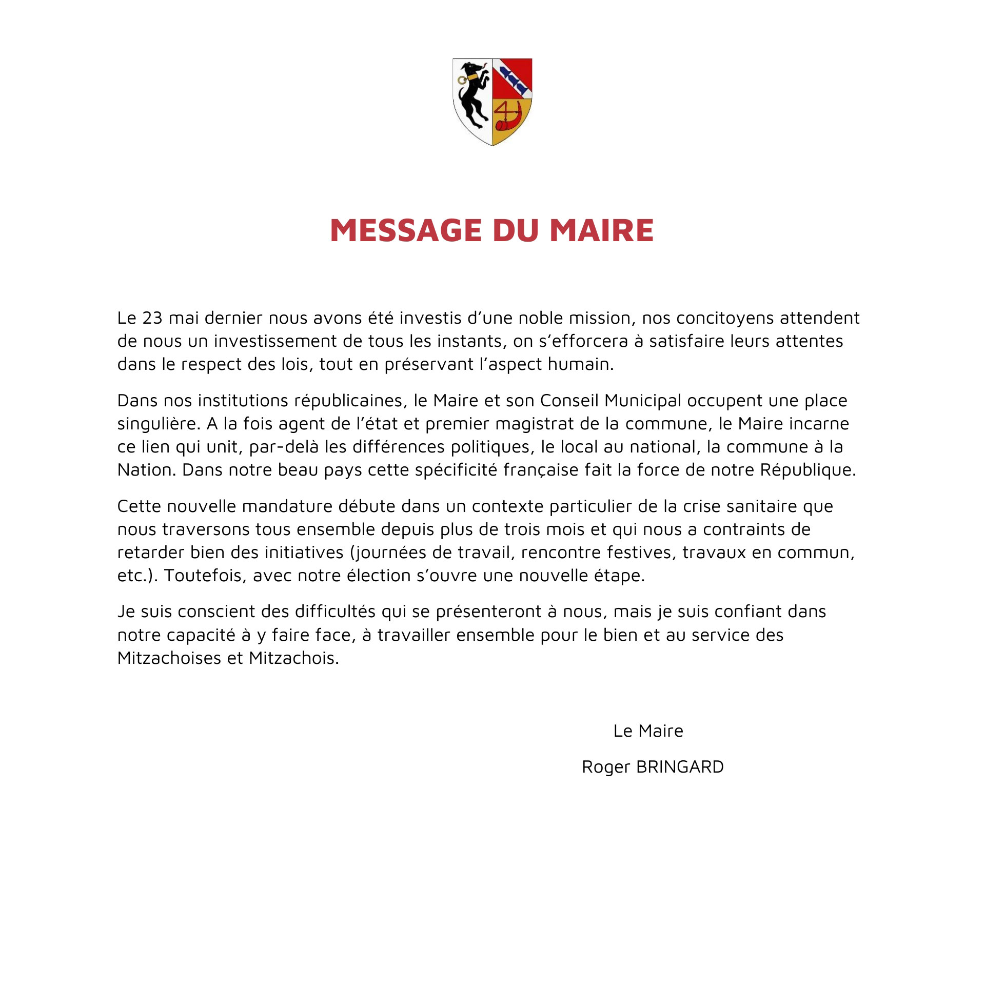 Message du Maire